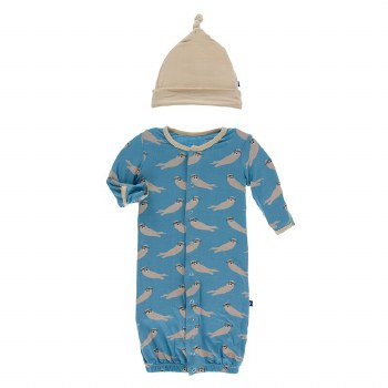 Kickee Pants Oceanography Print Gown Converter Set Blue Moon Sea Otter NB