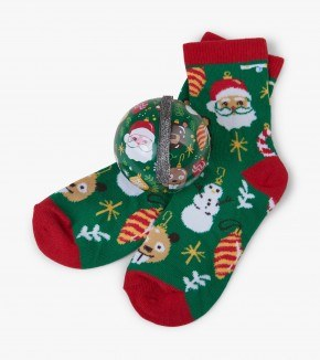 Little Blue House Socks in Balls Holiday Orname