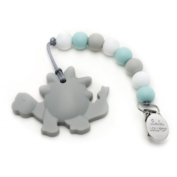 Loulou Lollipop Gray Dinosaur Silicone Teether With Clip