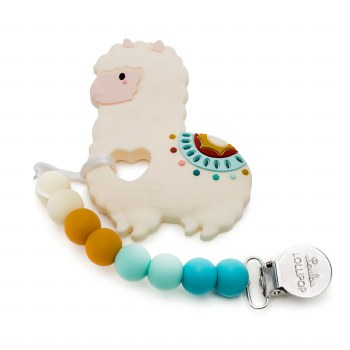 Loulou Lollipop Llama Silicone Teether With Clip
