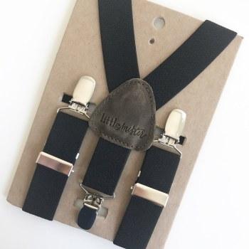 Little Mister Black Suspenders S