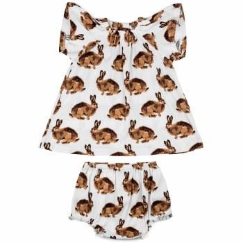 Milkbarn Organic Cotton Dress and Bloomer Set in Bunny