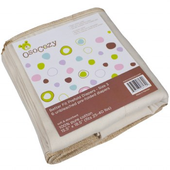 OsoCozy Better Fit Prefolds Toddler Size 3 6pack