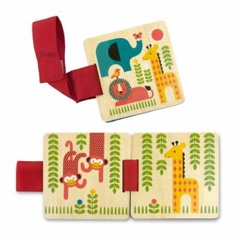 Petit Collage Wooden Stroller Book Safari