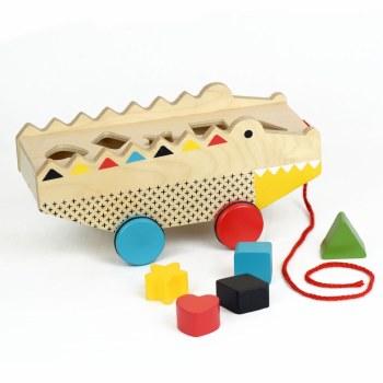 Petit Collage Wooden Shape Sorter Pull Toy Alligator