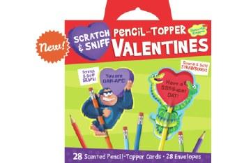 Peaceable Kingdom Valentines Packs Scratch & Sniff Pencil Topper