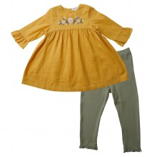 Angel Dear Muslin Honey Bell Sleeve Dress w/ Leggings
