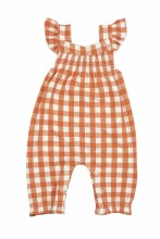 Angel Dear Gingham Pumpkin Smocked Front Coverall
