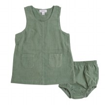 Angel Dear Hedge Green Corduroy Mod Dress and Diaper Cover