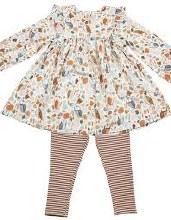 Angel Dear Autumn Owls Ruffle Dress & Leggings Set