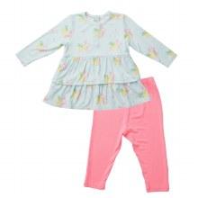 Angel Dear Neon Flamingo Ruffle Dress & Leggings
