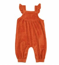Angel Dear Velour Ruffle Overall Rust