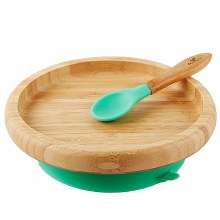 Avanchy Bamboo Classic Plate & Spoon Green