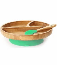 Avanchy Bamboo Suction Plate w/ Spoon Green