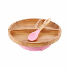 Avanchy Bamboo Suction Plate w/ Spoon Pink
