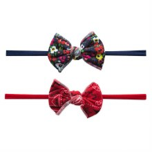 Baby Bling 2-Pack Print Skinny Bow Headbands