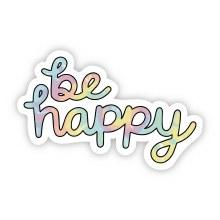 "Big Moods Sticker ""Be Happy"" Pastel Tie Dye"