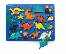 Crocodile Creek 16pc Wood Puzzle and Play Set- Dinosaurs