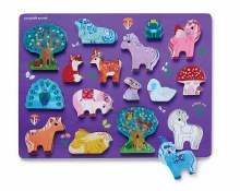 Crocodile Creek 16pc Wood Puzzle and Play Set- Unicorn Garden