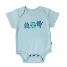 Finn + Emma Organic Cotton Bodysuit Ice Flow Blue & Monsters