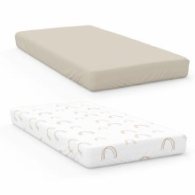 Organic Cotton & Bamboo Crib Sheets Rainbow/Soybean