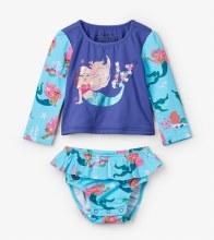 Hatley Baby Baby Rashguard Set in Mermaid Tales