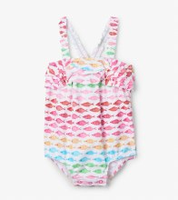 Hatley Baby Ruffle Swimsuit in Watercolour Fishies