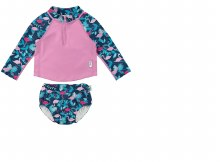 iplay Long Sleeve Zip Rash Guard with Reusable Swim Diaper
