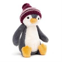 Bashful Burgundy Bobble Hat Penguin