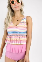 Kortni Jeane V-Neck Top Rainbow Stripe S