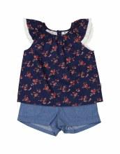 Korango Navy Floral Blouse & Short Set