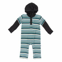 Agriculture Long Sleeve Hoodie Romper Multi Agriculture Stripe 18-24