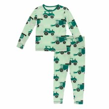 Agriculture Long Sleeve Pajama Set Pistachio Tractors and Wheat 18-24