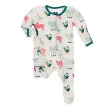 Agriculture Preemie Footie w/ Snaps in Natural Farm Animals
