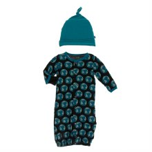 Kickee Pants Everyday Heroes Print Gown Converter & Hat Set Midnight Environmental Protection