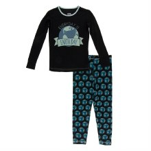 Kickee Pants Everyday Heroes Long Sleeve Pajama Set Midnight Environmental Protection