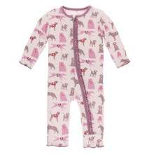 Kickee Pants Everyday Heroes Print Coverall with Zipper Macaroon Canine First Responders