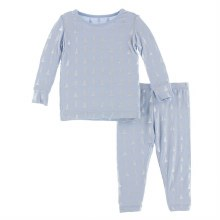 Kickee Pants Winter Celebrations Pajama Set in Frost Silver Trees