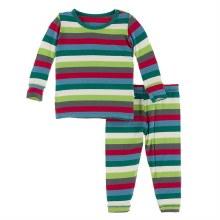 Kickee Pants Winter Celebrations Pajama Set in Multi Stripe