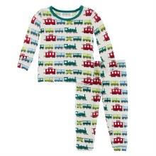 Kickee Pants Winter Celebrations Pajama Set in Natural Toy Train