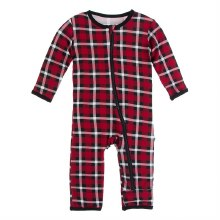 Kickee Pants Winter Celebrations Print Coverall with Zipper in Crimson Holiday Plaid