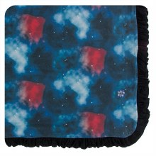 Kickee Pants Print Ruffle Toddler Blanket in Red Ginger Galaxy