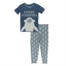 Kickee Pants Short Sleeve Pajama Set in Dusty Sky Astronaut