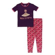 Kickee Pants Short Sleeve Pajama Set in Red Ginger Aliens