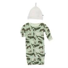 Zoology Gown Converter & Hat Set Aloe Endangered Animals NB