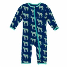 Zoology Print Coverall Flag Blue Unicorns 12-18