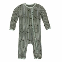 Zoology Print Muffin Ruffle Coverall Succulent Bamboo 12-18