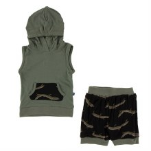 Zoology Short Sleeve Hoodie & Tank Outfit Midnight Electric Eels 2T