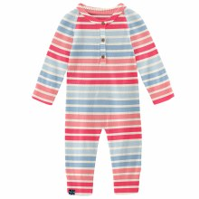 County Fair Knitted Henley Romper Cotton Candy Stripe