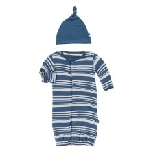 Fish & Wildlife Layette Gown Converter & Hat Set Fishing Stripe
